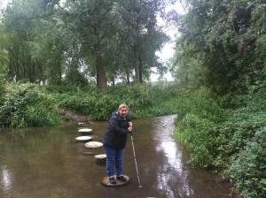 2013-09-11 10 Ver Valley walk, Sharlene on stepping Stones